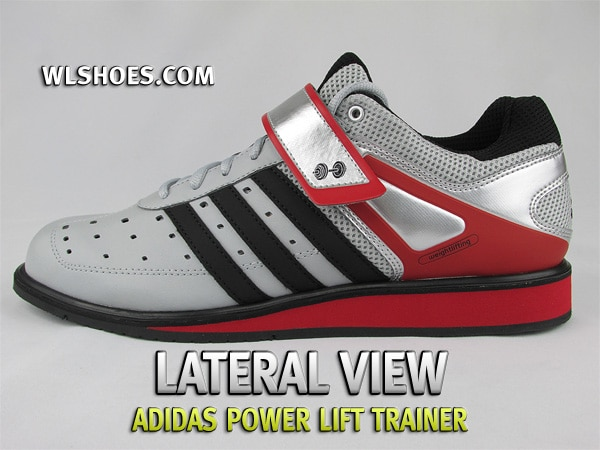 A pair of boxed Adidas Adipower weightlifting shoes. These red, white and black shoes have a secure strap in the instep and support structure in the heel